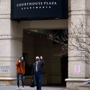 Building residents Marissa and Fran pose outside of the Courthouse Plaza building.